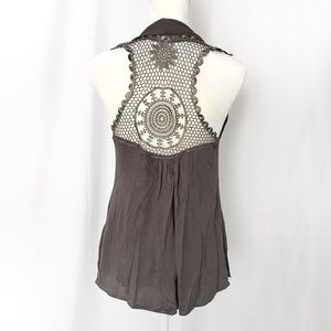Mind code taupe crochet back sleeveless cover